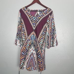 Candy Rose Boho Aztec Tribal Print Tie Front Dress